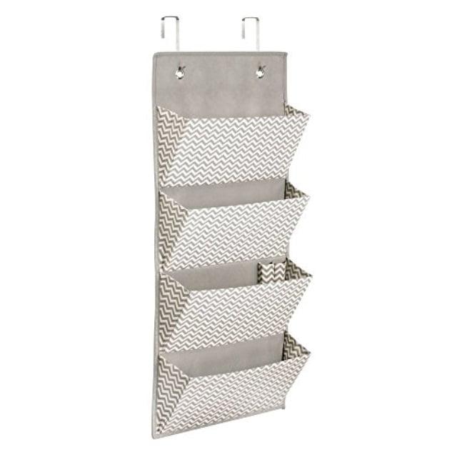 InterDesign 4-Pocket Hanging Closet Organizer - Chevron Over Door or Wall Mounted Storage System, Taupe/Natural