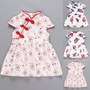 Kid Girl Summer Flower Cheongsam Dress Chinese Qipao Baby Toddler Sundress