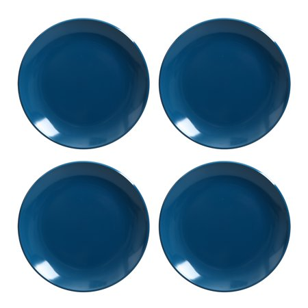 Mainstays Outdoor Melamine Blue Mix and Match Salad Plates, Set of 4