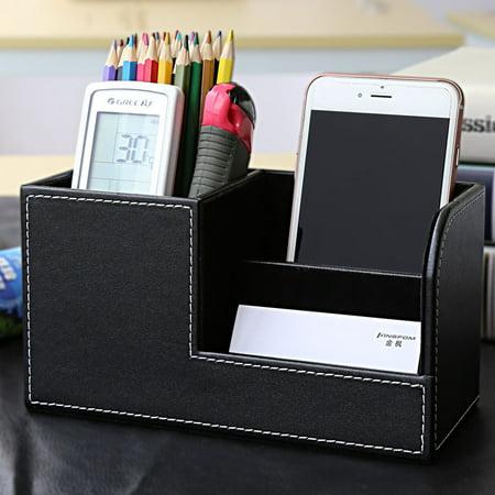 PU Leather Pen Vase Pencil Pot Phone Holder Makeup Brush Holder Stationery Desk Tidy Container Storage (Best Leather Pen Holder)