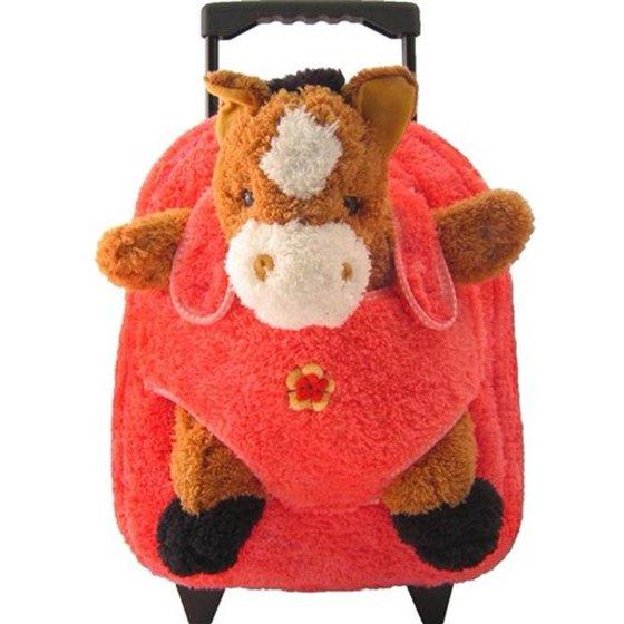 dc4985b5c0 Kreative Kids 8093R Horse Plush Rolling Backpack with Hot Pink - Walmart.com