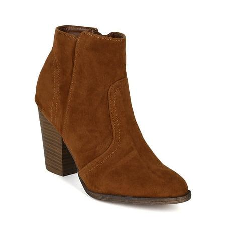New Ladies Brown Wedge Heel - Breckelles BG23 Women Suede Womens Round Toe Chunky Heel Riding Ankle Bootie