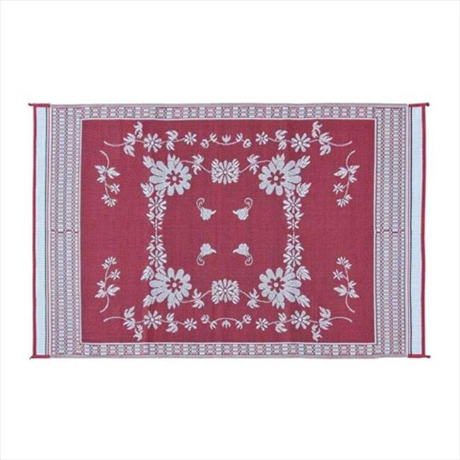 MINGS MARK FB5 Floral Mat Burgundy, White 6x9