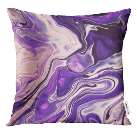 ARHOME Dust Pink Purple Violet Marble with Cosmic Night Sky Watercolor Painting Color Mix Paint Pillow Case 20x20 Inches - Cosmic Cotton Catnip Pillow
