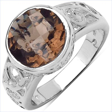 Genuine Round Smoky Quartz Ring in Sterling Silver - Size 7.00