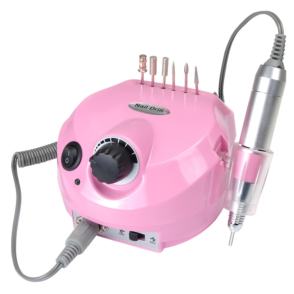 Electric Acrylic Nail Drill Manicure Pedicure Kit Pedal File Buffer Set w/ 6 Bits Beauty Salon