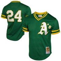 Rickey Henderson Oakland Athletics Mitchell & Ness 1991 Cooperstown Mesh Batting Practice Jersey - Green