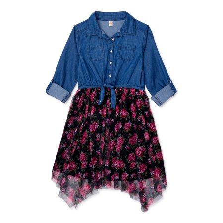 Sweet Butterfly Girls Long Sleeve Denim and Tulle Dress, Sizes 4-16