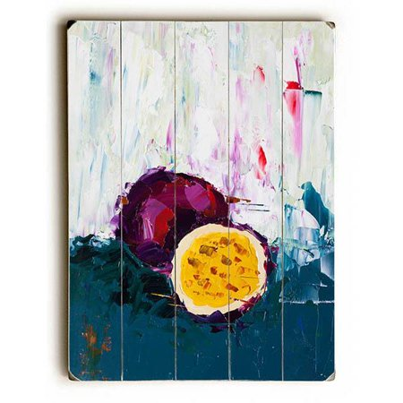 """ArteHouse Decorative Wood Sign """"Passion Of The Fruit"""" by Artist Eric Buchmann, 14"""" x 20"""", Planked Wood"""