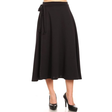 NEW MOA Women's Solid Casual Comfy Lightweight Faux Wrap Midi A-Line Skirt