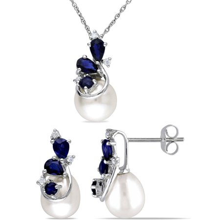 7.5-8mm and 8.5-9mm White Round Cultured Freshwater Pearl and 1-1/2 Carat T.G.W. Sapphire with 1/10 Carat T.W. Diamond 10kt White Gold Floral Design Pendant and Earrings Set, 17 Cultured Freshwater Pearl Floral Design