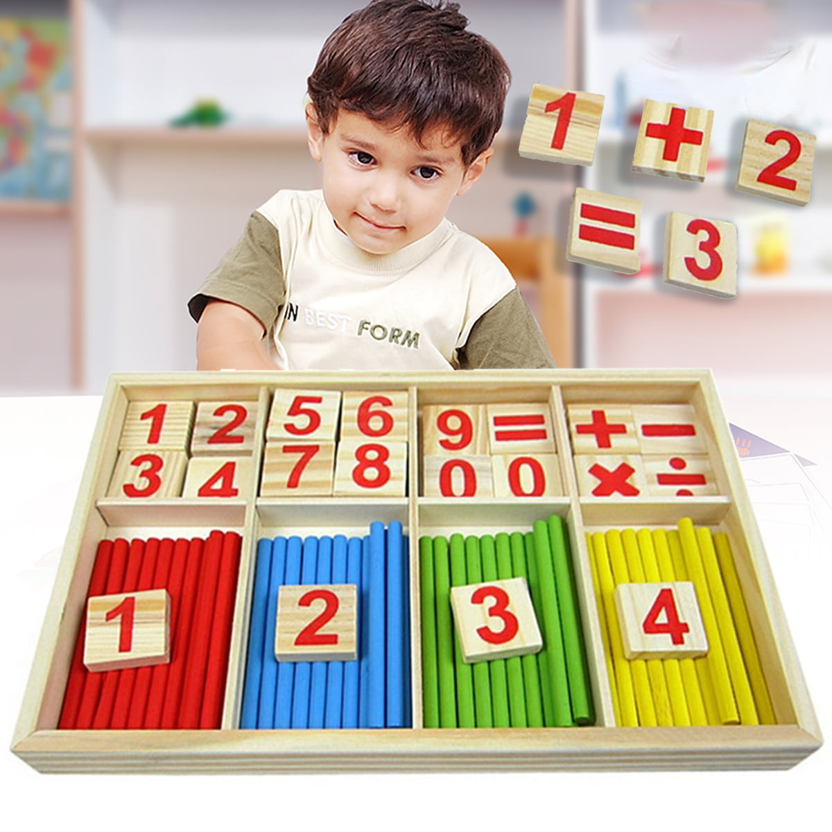 Wooden Number Mathematics Early Learning Counting Math ...