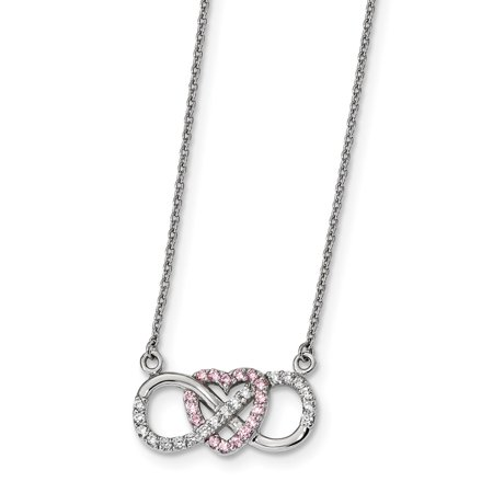 Sterling Silver Cz Heart Infinity Symbol Necklace 9x21mm 16 Inches