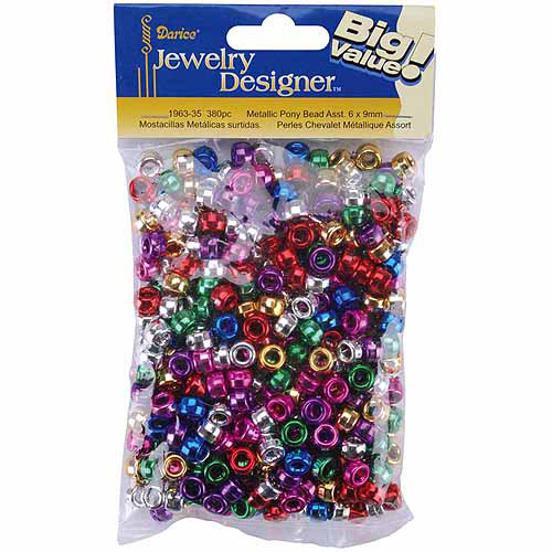 Pony Beads, 6mm x 9mm 380pk, Metallic Multicolor