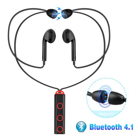 TSV Bluetooth Headphone, Wireless Earphone Sports Gym Running, Bluetooth V4.1 Head Phone Earbud Bass HiFi Stereo Sports Earphones Compatible with iPhone Android, Most Bluetooth-enabled (750w Bass Head)