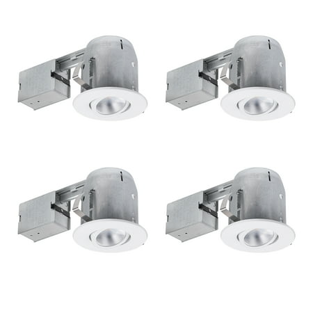 Globe Electric 5 in. White IC Rated Recessed Lighting Kit (4-Pack), LED Bulbs Included, 90957