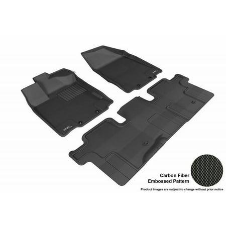 3D MAXpider 2013-2018 Infiniti QX60 2013 JX 1st Row 2nd Row Kagu Carbon Fiber Embossed Pattern Black Floor Mat L1IN01101509