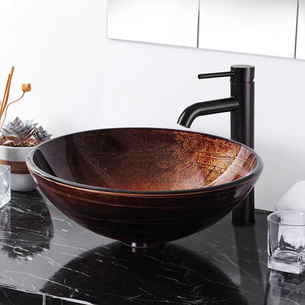 Aquaterior Tempered Glass Vessel Sink, Patterned Bathroom Sinks