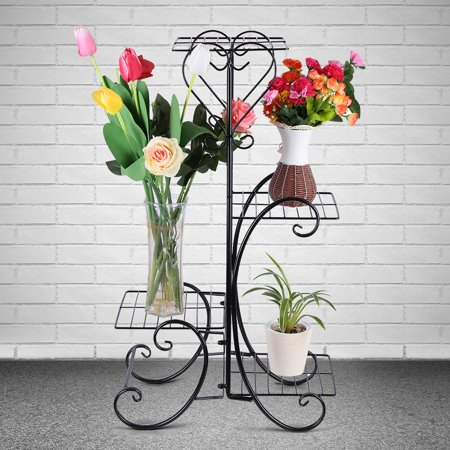 Dilwe Patio Flower Pot Rack,4 Tier Decorative Metal Flower Pot Plant Stand Rack Display Shelf for Indoor Outdoor Garden Patio Decoration