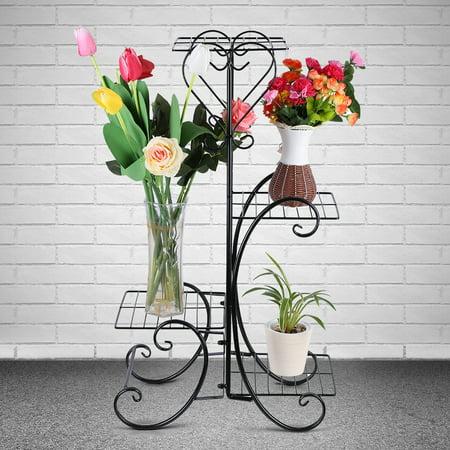 4 Tier Decorative Metal Flower Pot Plant Stand Display Shelf Indoor Outdoor Garden Patio
