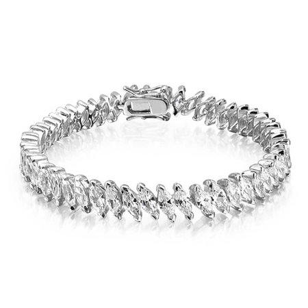 Bridal Clasp Bracelet - Bridal Wedding Tennis Bracelet Marquise CZ Rhodium Plated Brass 6.75 Inches Safety Clasp
