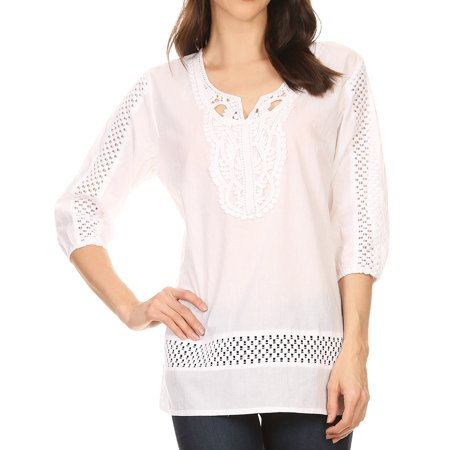 Sakkas Marion 3/4 Sleeve Blouse Tunic with Lace Applique and Crochet - White - 1X