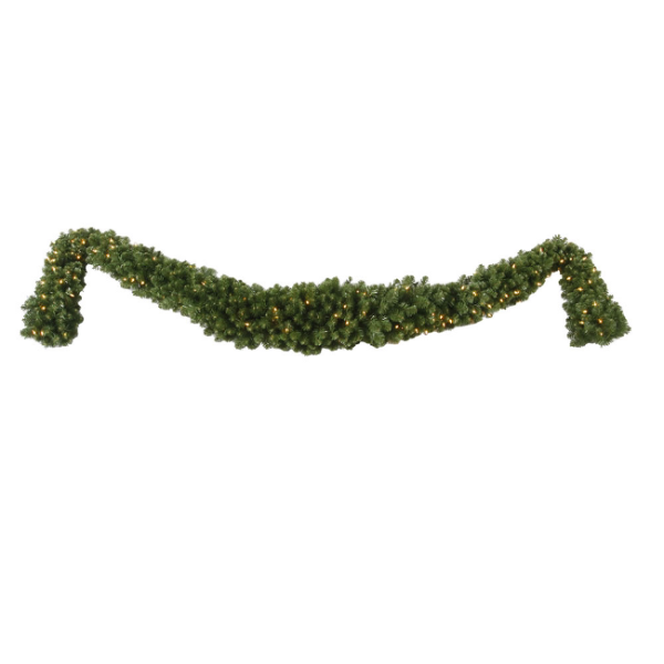 "9' x 15"" Pre-Lit Grand Teton Artificial Christmas Swag Garland -Clear LED Lights"
