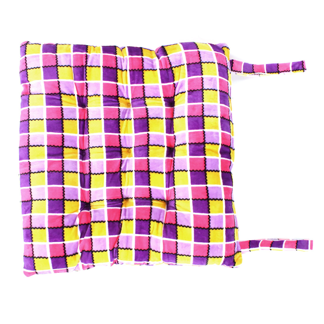 Outdoor Garden Dining Checked Pattern Chair Seat Cushion Pad Pink