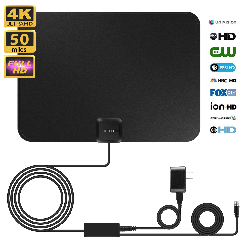 ZOETOUCH TV Antenna HDTV Amplified Digital Indoor Smart Antenna 50 Miles Long Range with Amplifier Signal Booster for 1080P 4K HD VHF UHF Free Channels with 10ft coaxial cable/USB Power Adapter