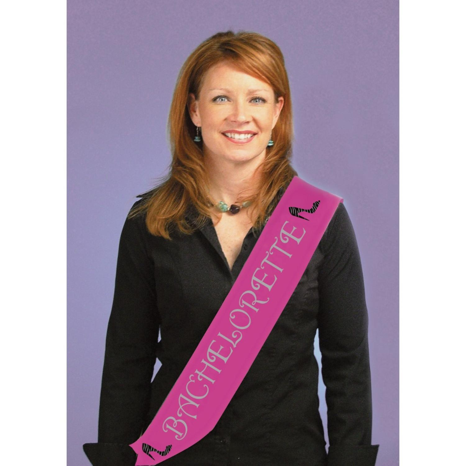 "Club Pack of 12 Glittery Hot Pink ""Bachelorette"" Satin Sashes 66"""