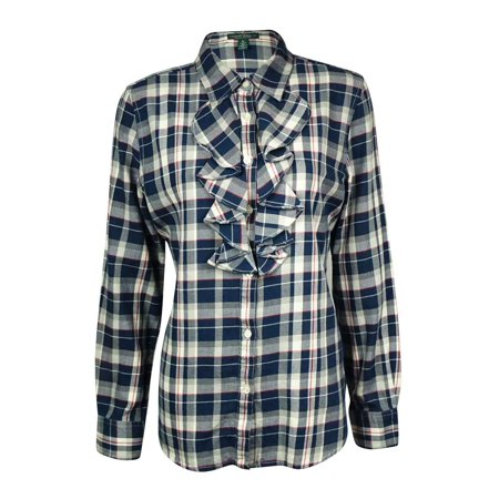 e7bac52351a51b Ralph Lauren - LRL Lauren Jeans Co. Women's Ruffled Plaid Flannel Shirt -  Walmart.com