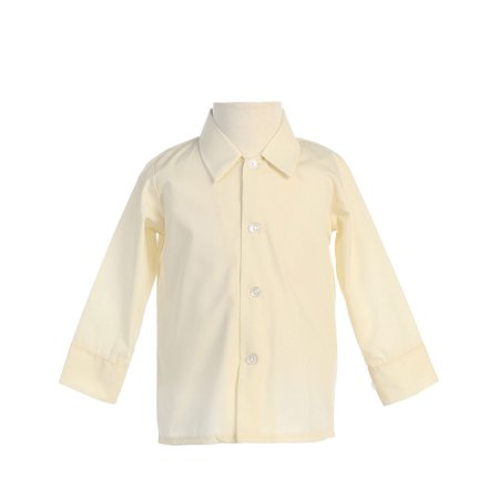 Avery Hill Baby Boys Infant Toddler Long Sleeved Simple Dress Shirt in Ivory or