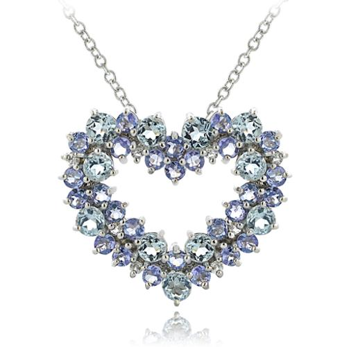 Glitzy Rocks Sterling Silver Aquamarine and Tanzanite with 1 10ct TDW Diamond Heart Cluster Necklace (I-J, I2-I3) by Overstock