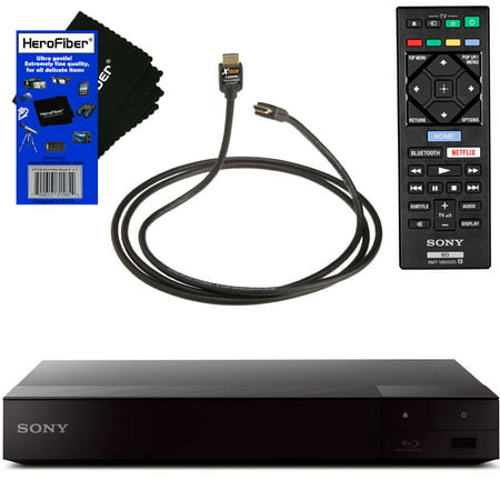 Sony BDPS6700 4K Upscaling Blu-ray Disc Player with Built-in Wi-Fi + Remote Control + Xtech High-Speed HDMI Cable with Ethernet + HeroFiber Ultra Gentle Cleaning