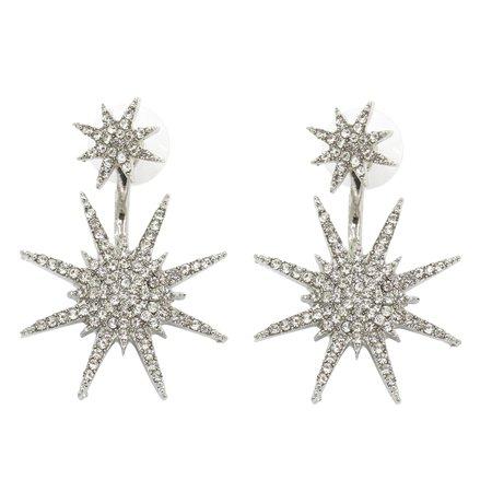 KABOER Unique Fashion Crystal Women's Ear Rhinestone Bling Bling Snowflake Earrings Wedding Jewelry (Crystal Rhinestones Face Bling)