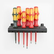 Wera 347777 VDE Insulated Slotted/Phillips/Square Screwdriver Set + Rack