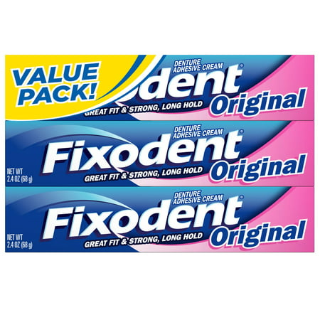 Fixodent Original Cream (Fixodent 2.4 oz Denture Adhesive Cream, Original 3-Pack )