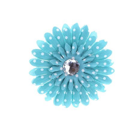 Hair Accessory Turquoise Polka Dot Rhinestone Daisy Flower Hairclip](Daddy Clips)