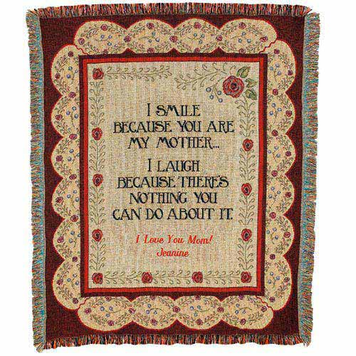 Personalized Mother's Cotton Throw Blanket