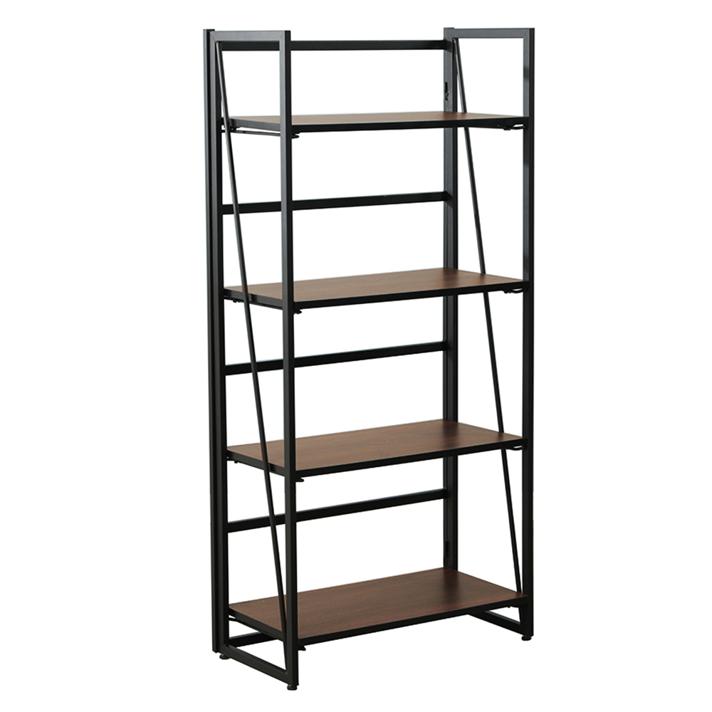 Fither 4-Tier Metal & Wood Foldable Industrial Bookshelf