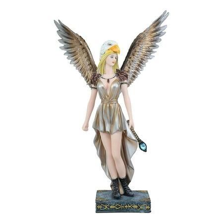 Ebros Large Mythical Goddess Tribal Warrior Medicine Fairy with Eagle Head Headdress Statue 14.75