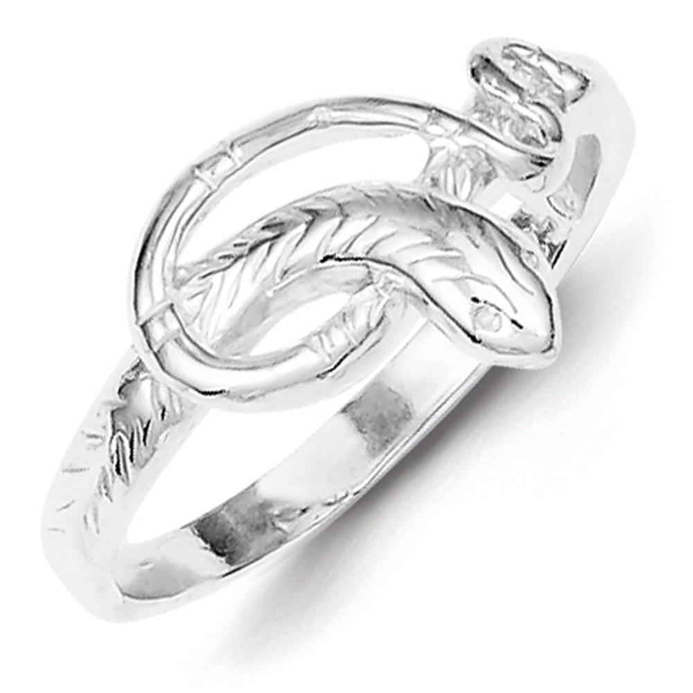 925 Sterling Silver Ladies Polished & Textured Snake Ring Size 7