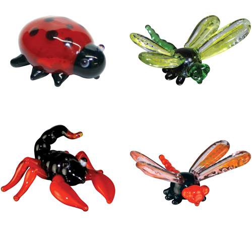 BrainStorm Looking Glass Miniature Glass Figurines, 4-Pack, Ladybug/Dragonfly/Scorpion/Damselfly