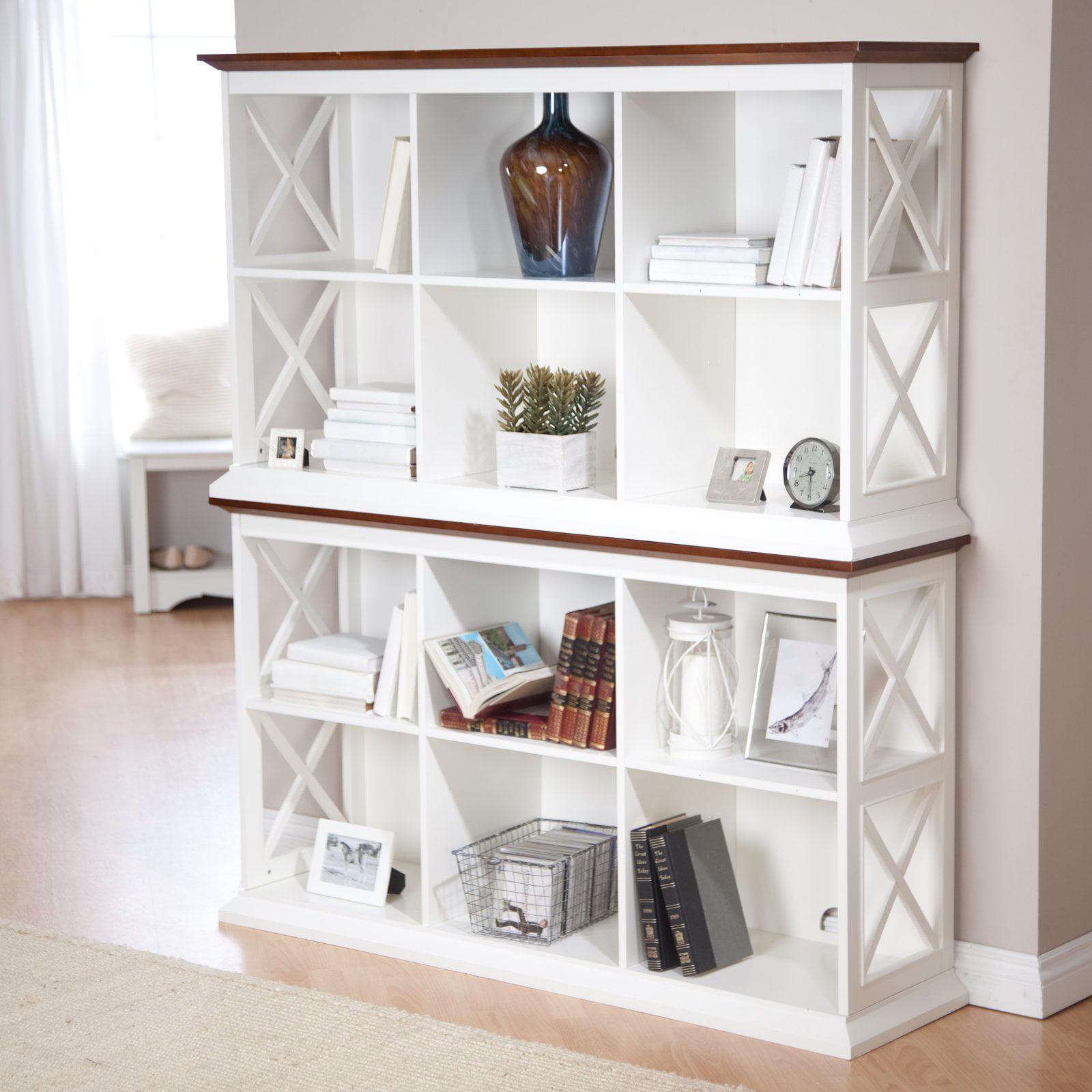 Belham Living Hampton Console Table 2 Shelf Bookcase - White/Oak -  Walmart