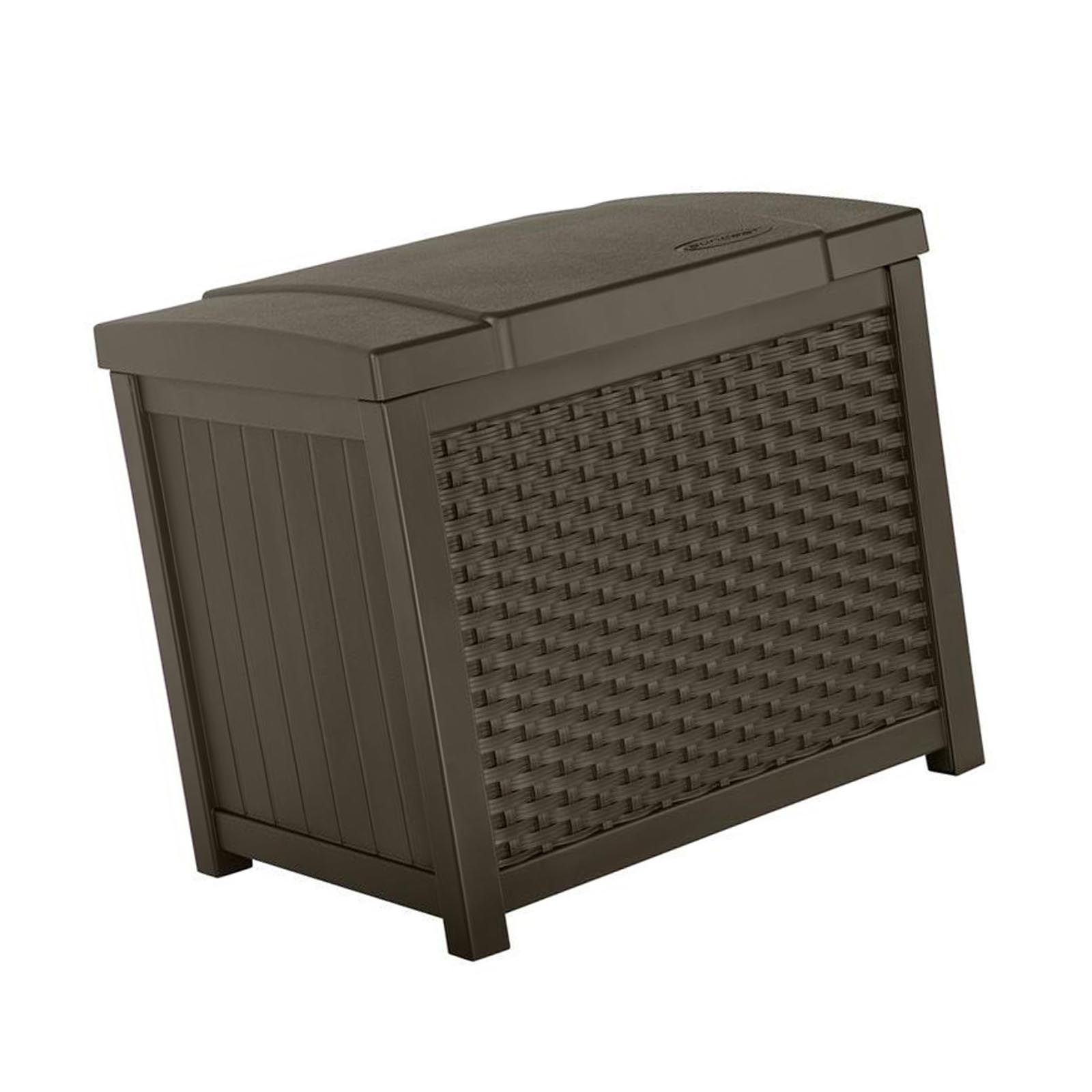 Suncast 22 Gallon Wicker Resin Outdoor Storage Deck Box & Seat, Java | SSW900