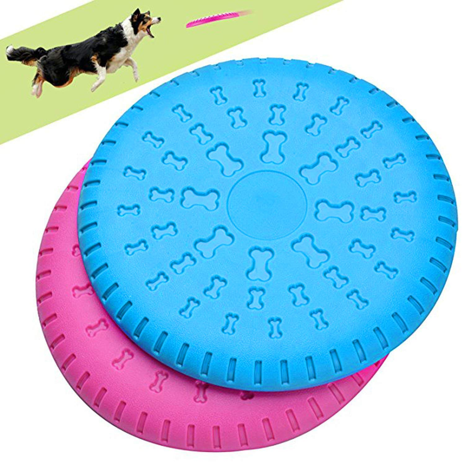 Dog Flying Discs 2 in 1 Pet Flying Disc Saucer Dog Training Feeding Toy Pet Interactive Toy for Outdoor Training Discs for Medium//Large Dogs Blue