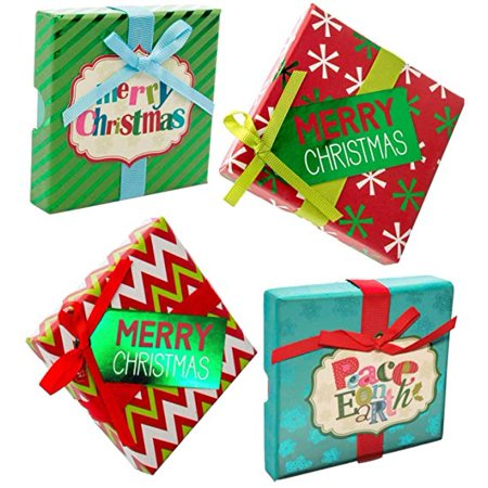 Christmas Gift Card Holder Boxes with Ribbon & Foil (Set of 4) - Christmas Boxes