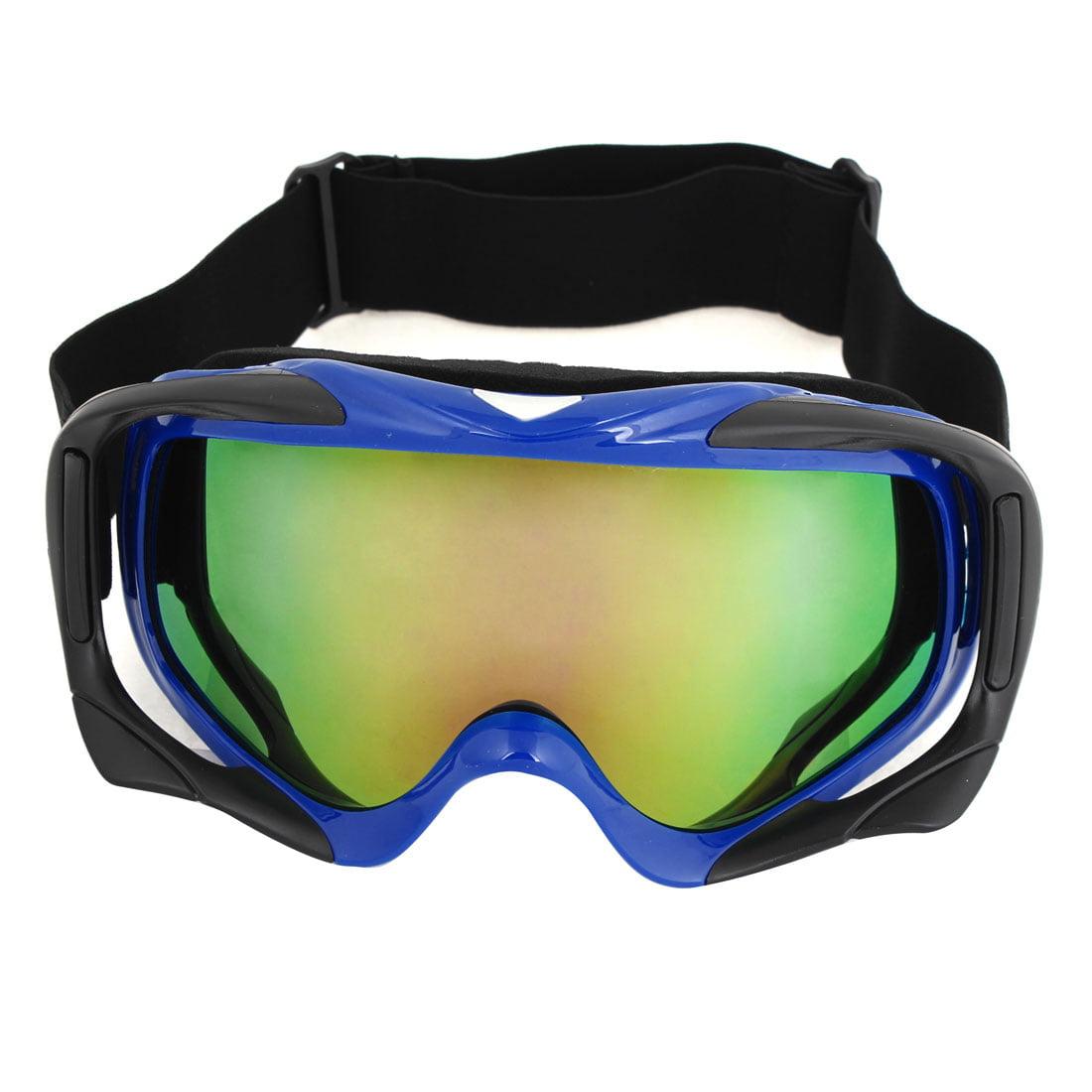 Unisex Off-road Hiking Colored Plastic Lens Foldable Ski Skate Goggles Blue Rim by Unique-Bargains