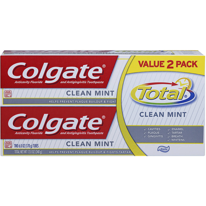 Colgate Total Fluoride & Antigingivitis Clean Mint Toothpaste, 6 oz