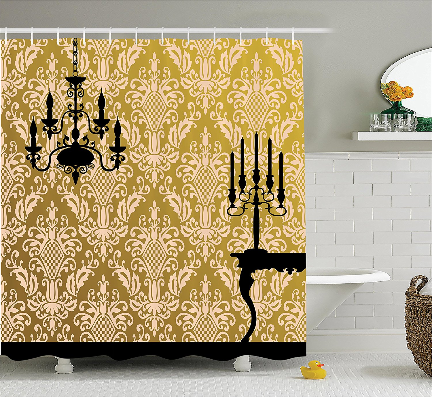 Damask Decor Shower Curtain Set By , English Country House Damask Motif On Wall And Chandelier Silhouettes Renaissance Decor, Bathroom Accessories, 69W X 70L Inches.., By Ambesonne Ship from US